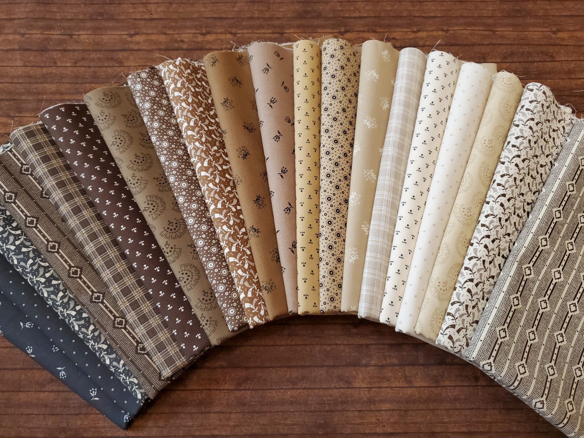 ByGone Browns by Sheryl Johnson of Temecula Quilts for Marcus Fabrics - 20 Piece Half Yard Bundle Pack