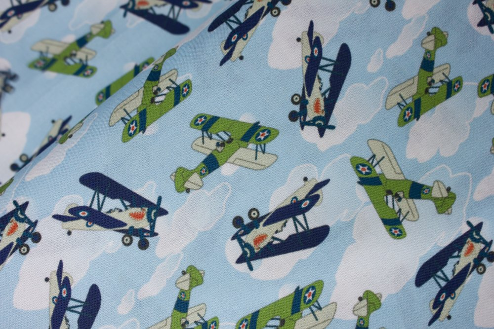 SPECIALTY FABRICS:  Vintage Military Planes on Cloudy Blue Skies:  The Battle by MDG Digital