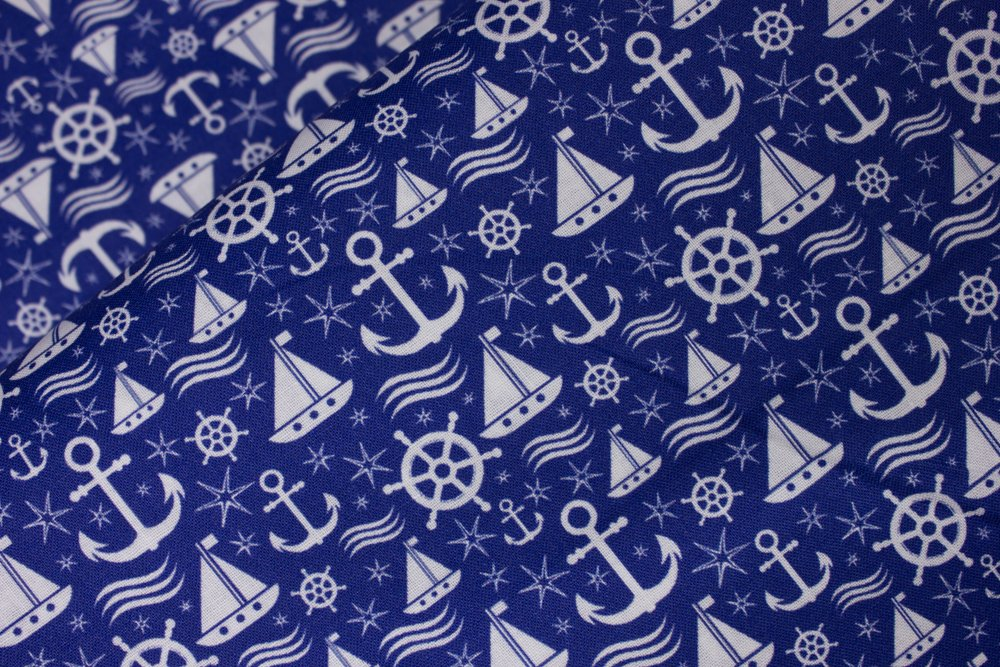 White Sailboats, Anchors, and Ship Wheels on Blue by MDG Digital