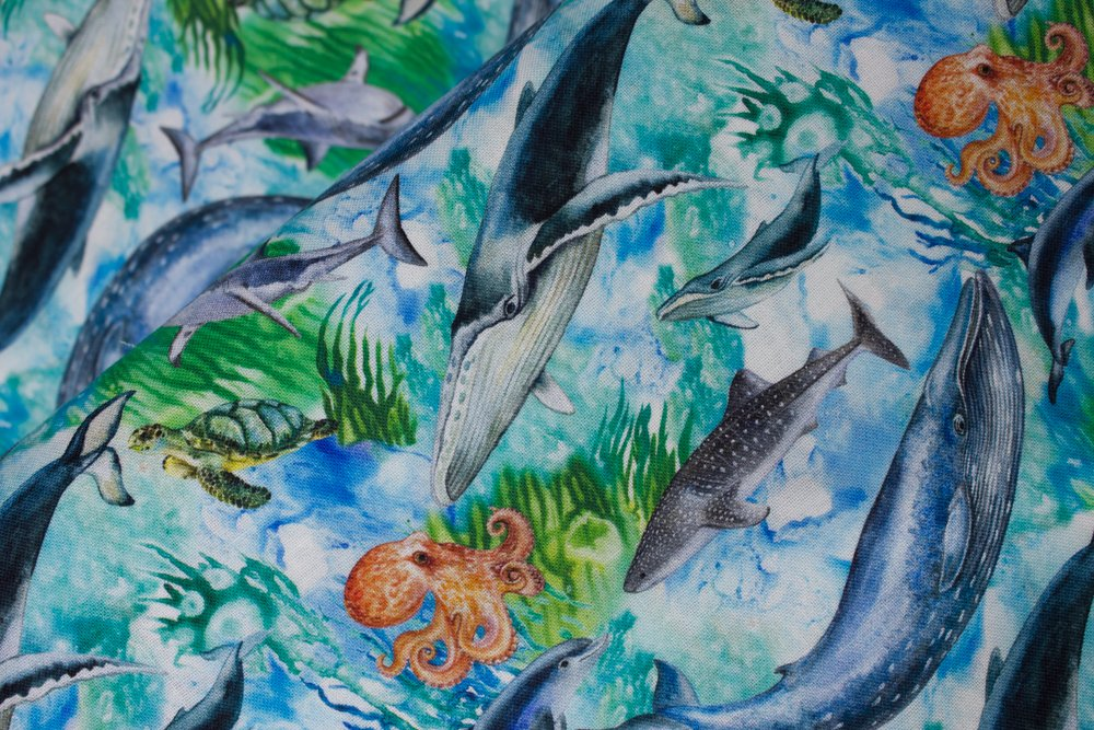 SPECIALTY FABRICS:  Whales, Sea Turtles, and Octopuses in Water:  Under The Sea by MDG Digital