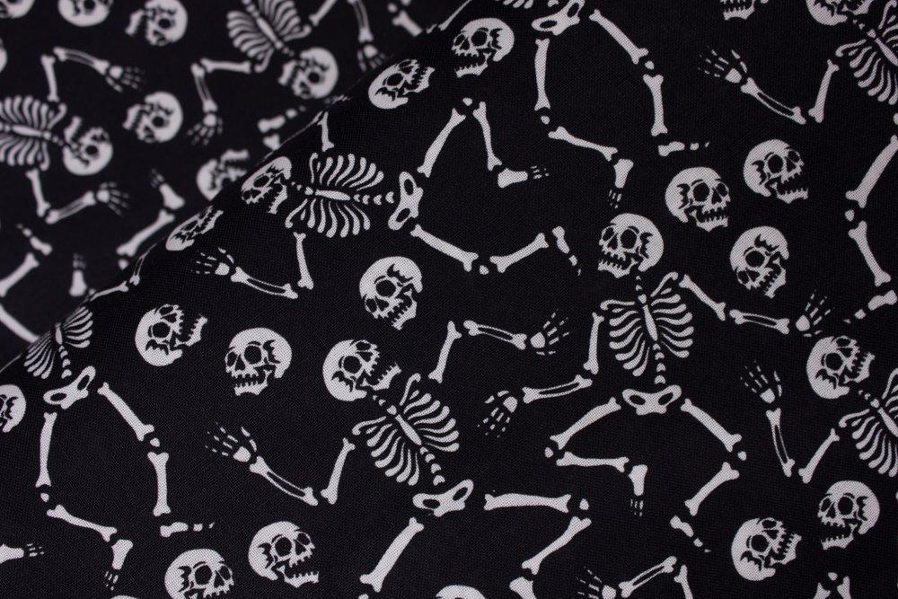 White Dancing Skeletons on Black:  Skeleton Dance by MDG Digital