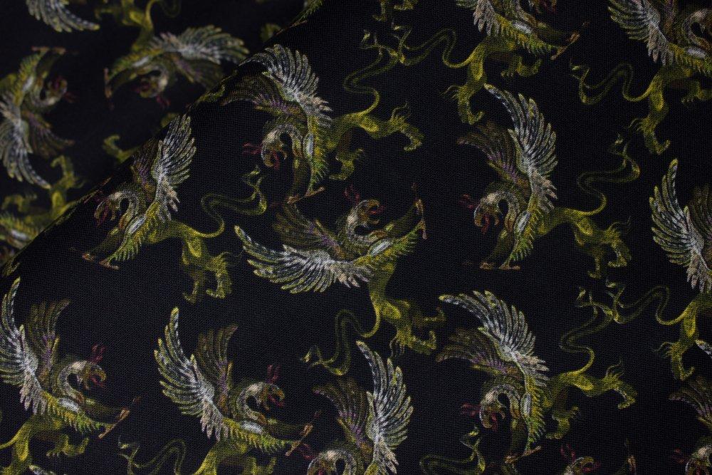 SPECIALTY FABRICS:  Flying Green Dragons on Black:  Flying Dragon by MDG Digital