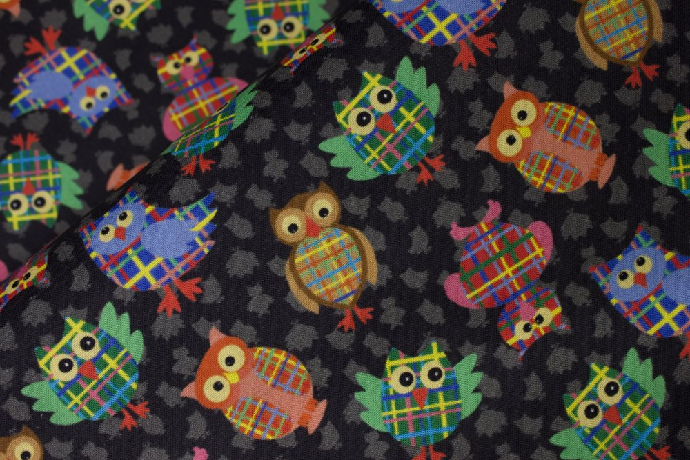 Colorful Owls on Black with Gray Owl Silhouettes:  Give A Hoot by MDG Digital