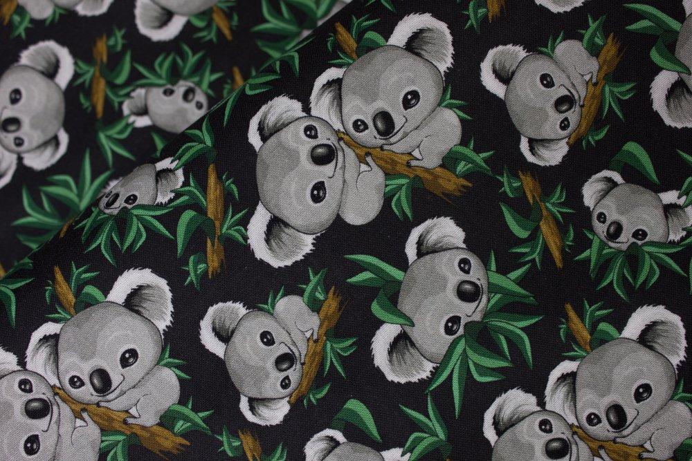 SPECIALTY FABRICS: Gray Koala Bears in Trees on Black:  Cozy Koalas by MDG Digital