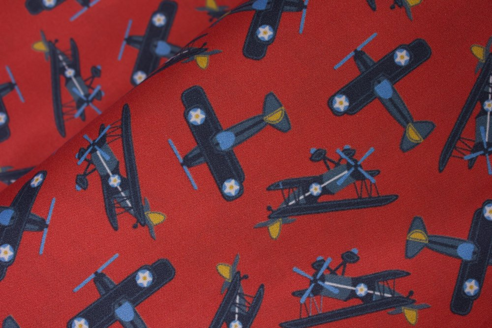 SPECIALTY FABRICS:  Vintage Military Fighter Planes on Red:  Fighters by MDG Digital