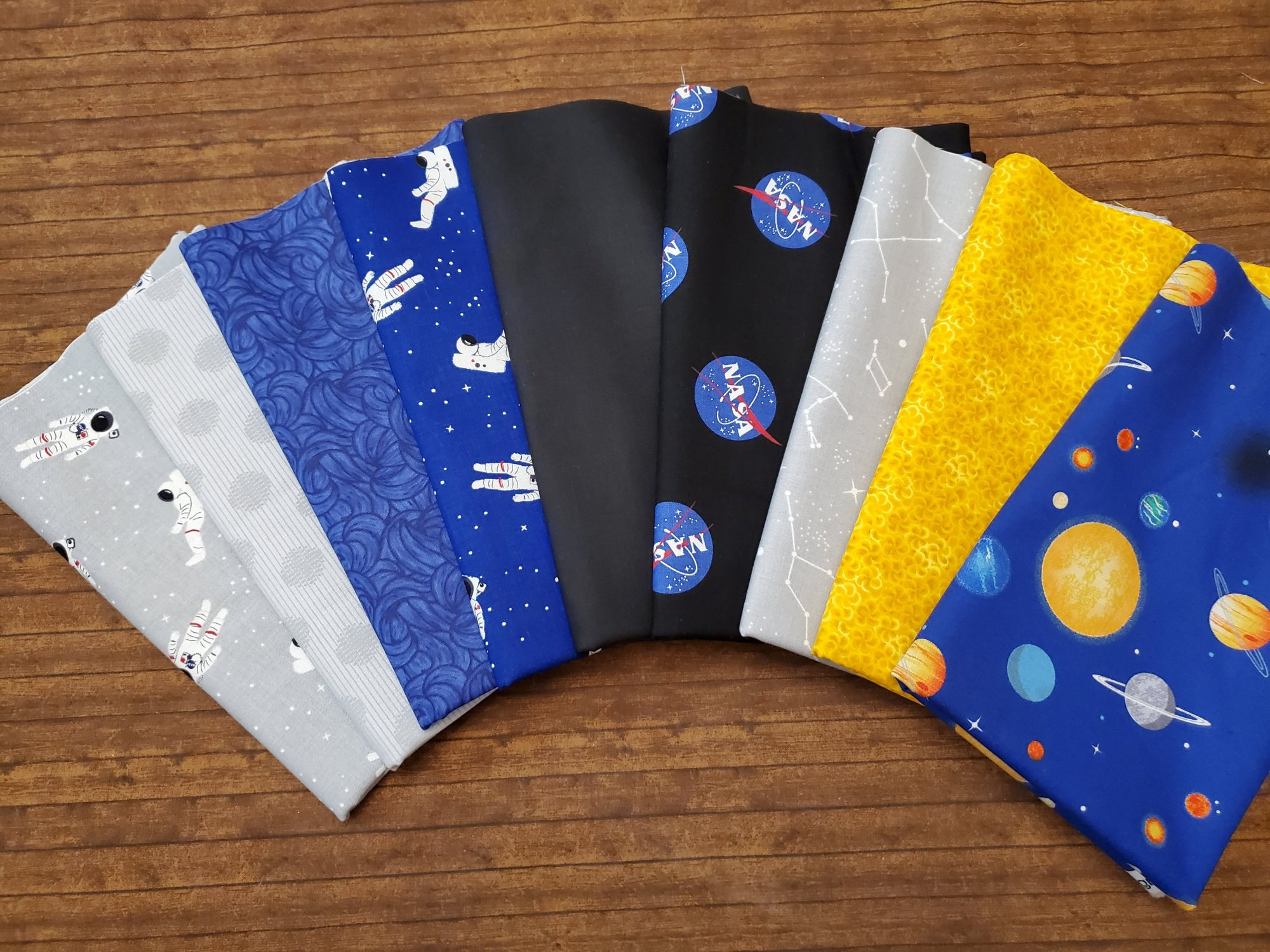NASA Space Set by Riley Blake Fabrics and others - 9 Piece Half Yard Bundle Pack - Astronaut, Space, Sun, Moon, Constellations