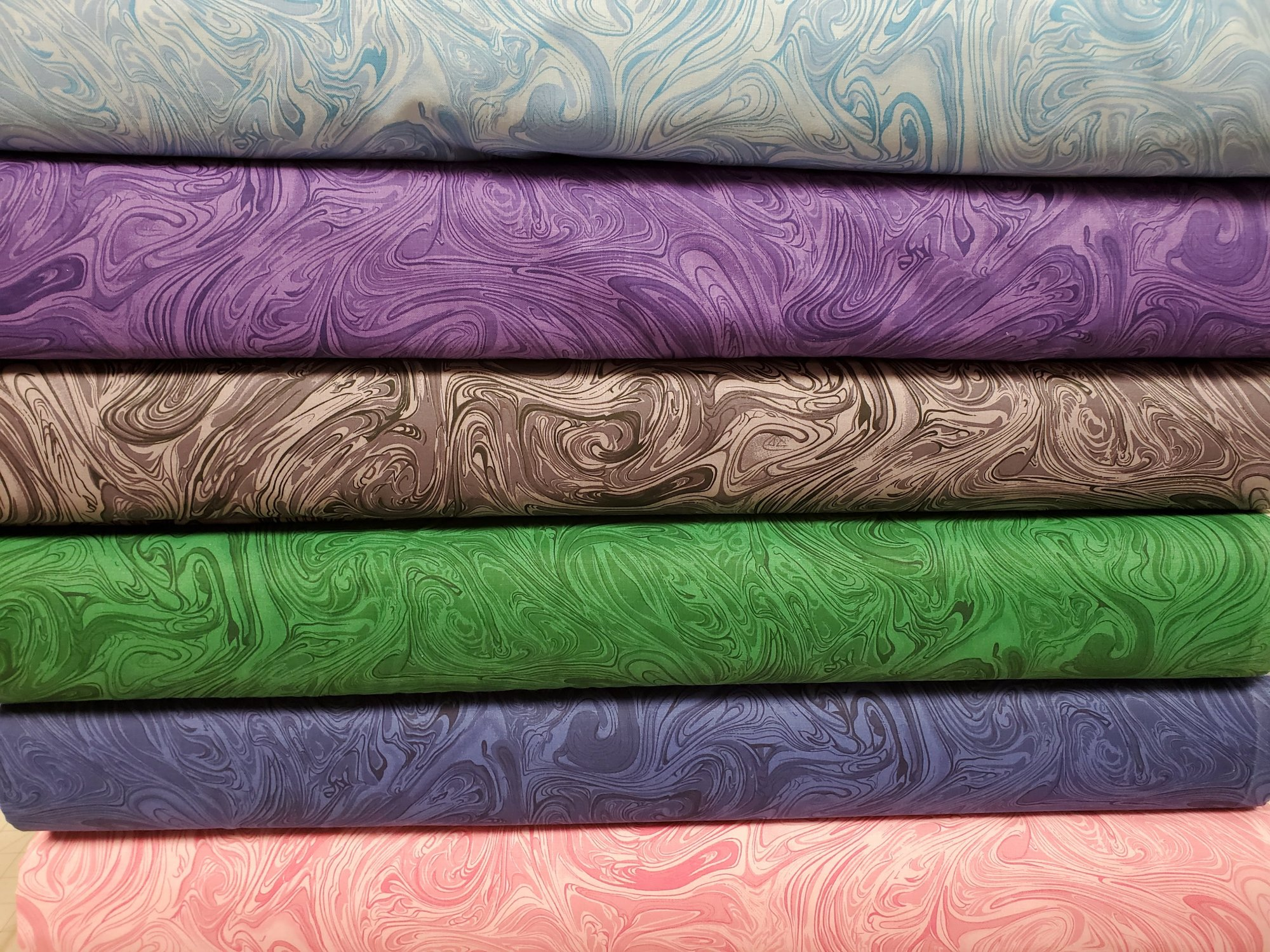 All Varieties of 108 Wide Swirling Marbling Blender BACKING Fabric
