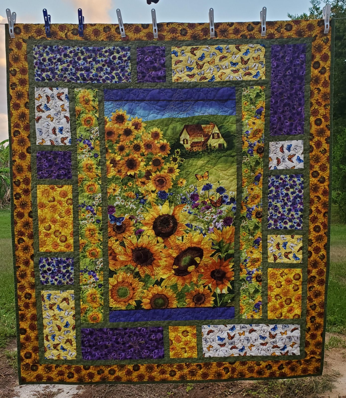 Sunny Fields Lap Quilt Kit - Panel, Pattern, Fabric for Top and Binding