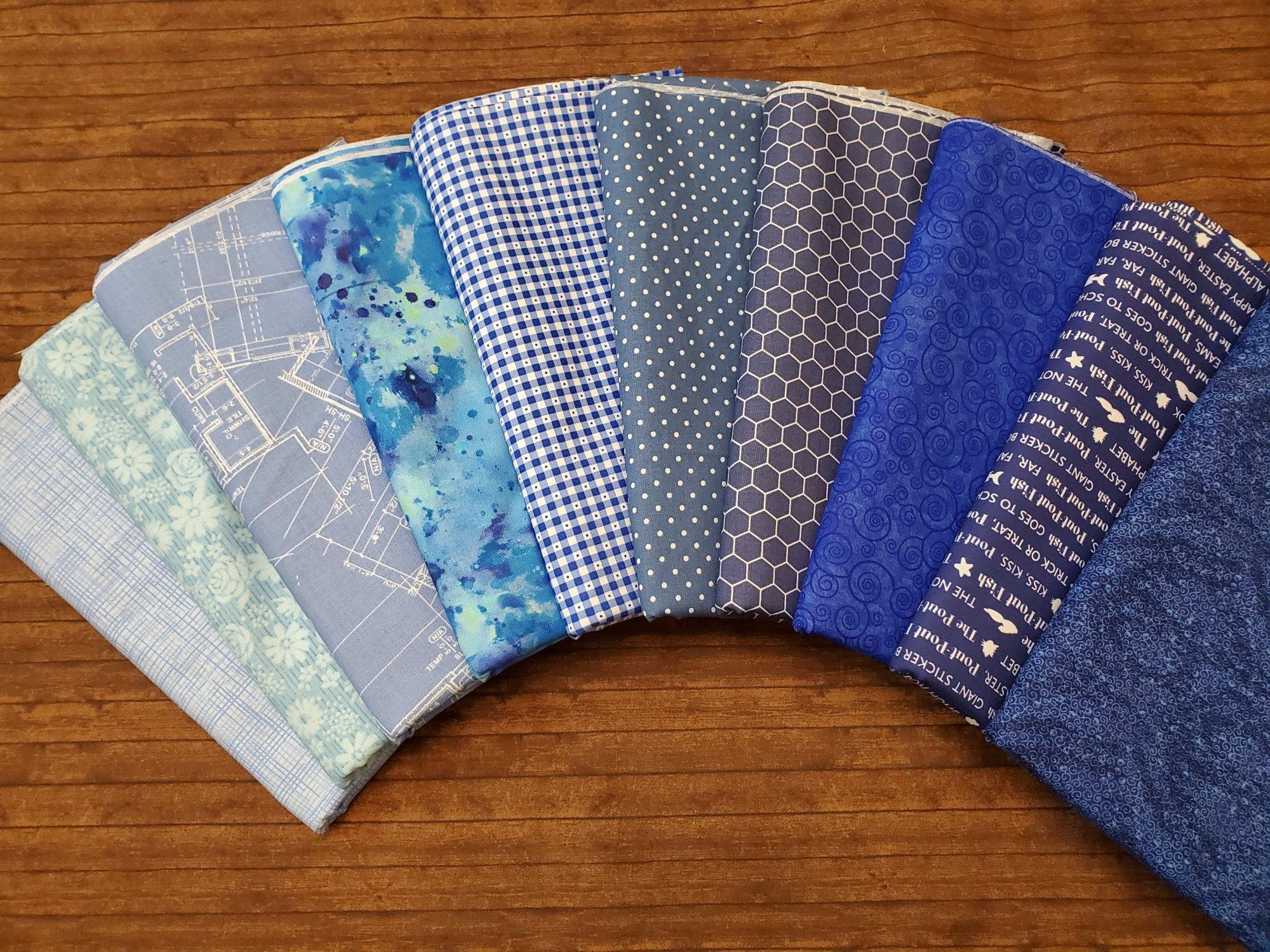 FULL YARD: Mixture of BLUES - 10 Piece FULL Yard Bundle Pack - all LQS Fabrics