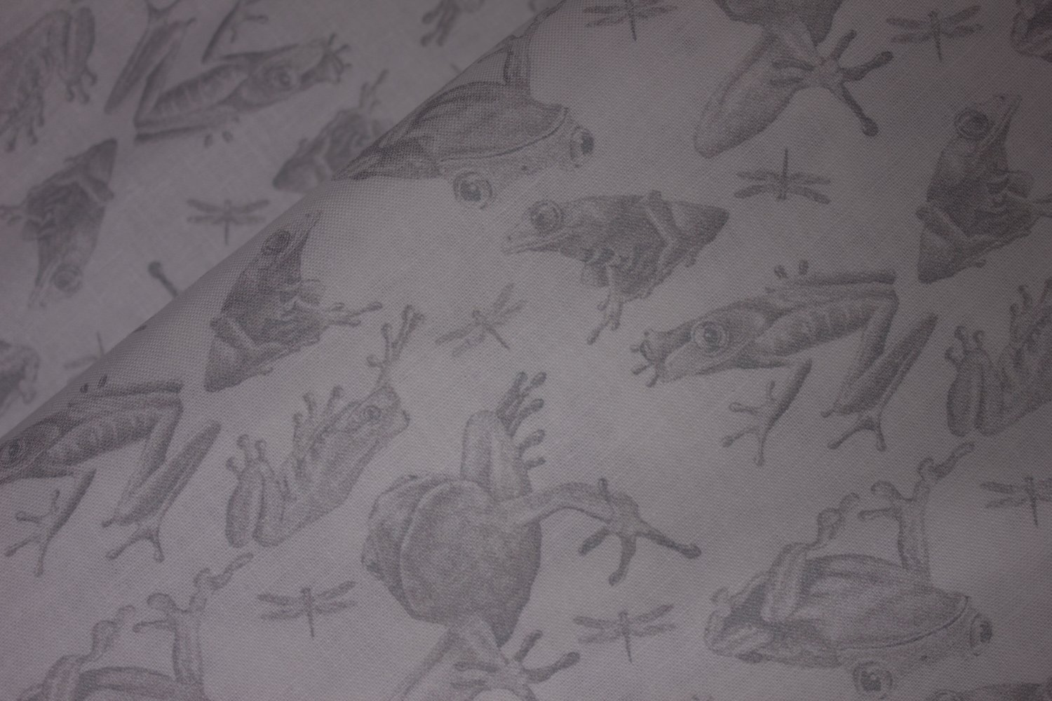SPECIALTY FABRICS:  Light Gray Frogs on White:  Jewels of the Jungle by Lori Anzalone for Studio E Fabrics