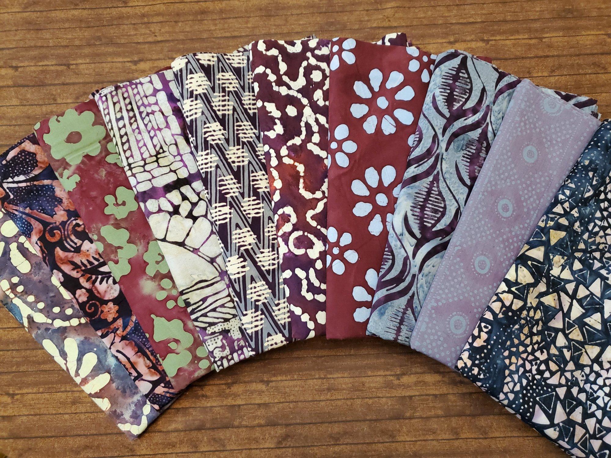 Purple Based Batiks - 10 Piece Half Yard Bundle Pack