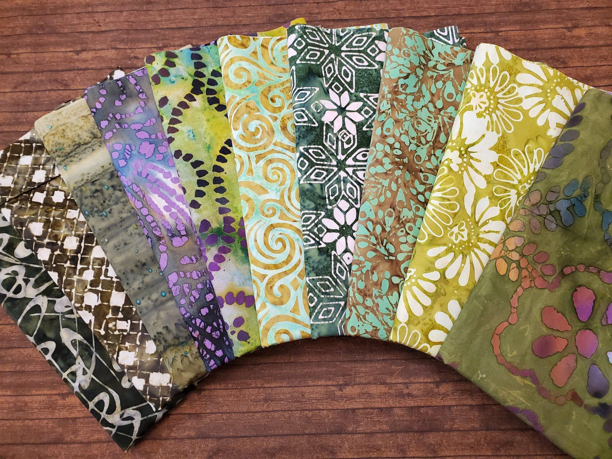 Mixed Green Batiks - 10 Piece Half Yard Bundle Pack