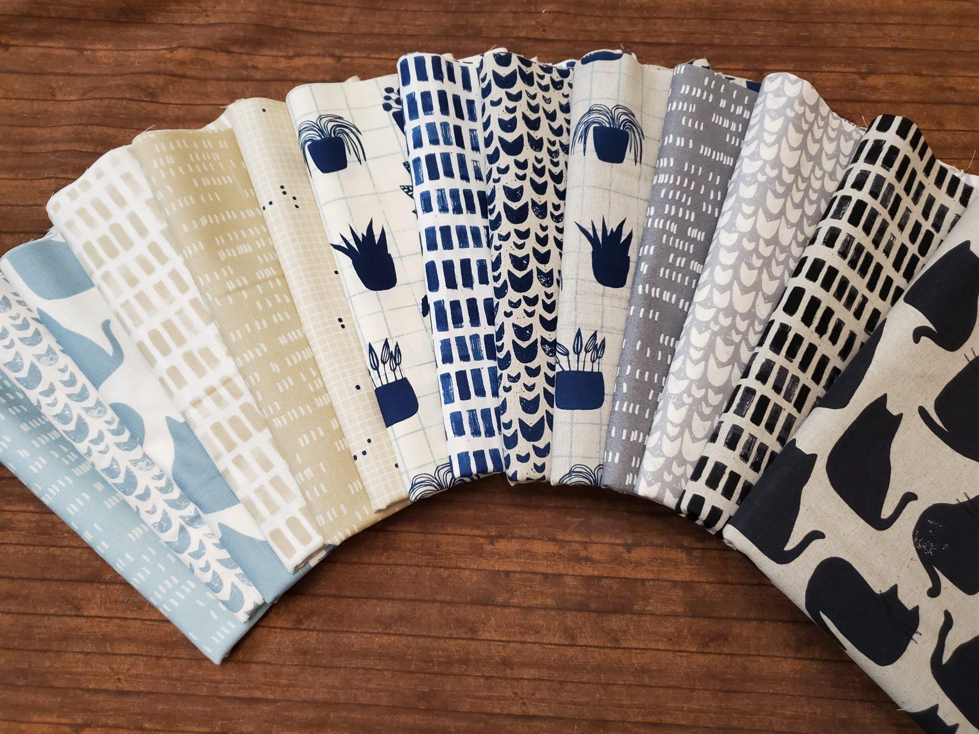 Home - Part #2 - Light Blue, Tan, Navy - 14 Piece Half Yard Bundle Pack
