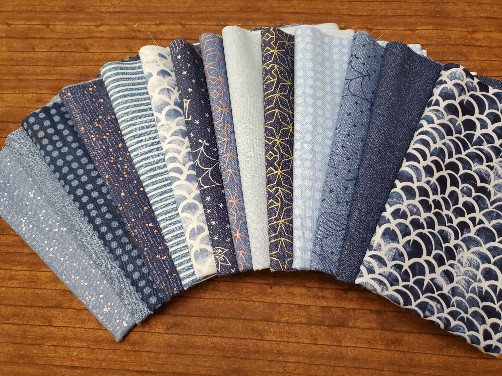 Almost Blue in Shades of Blue by Libs Elliot by Andover- 14 Piece Half Yard Bundle Pack