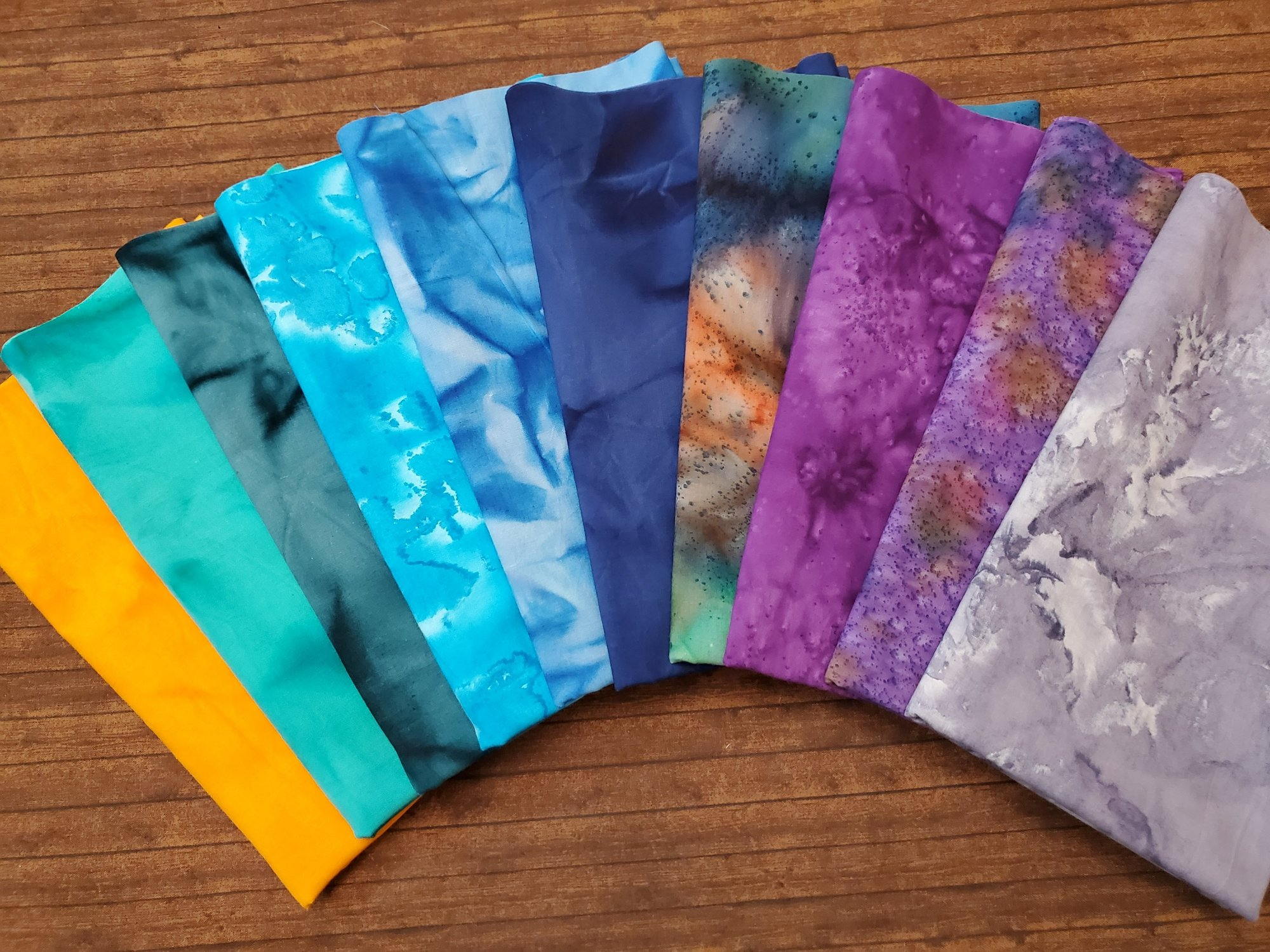 Tie Dye #7 - Rachael's Picks - 10 Piece  Half Yard Bundle Pack