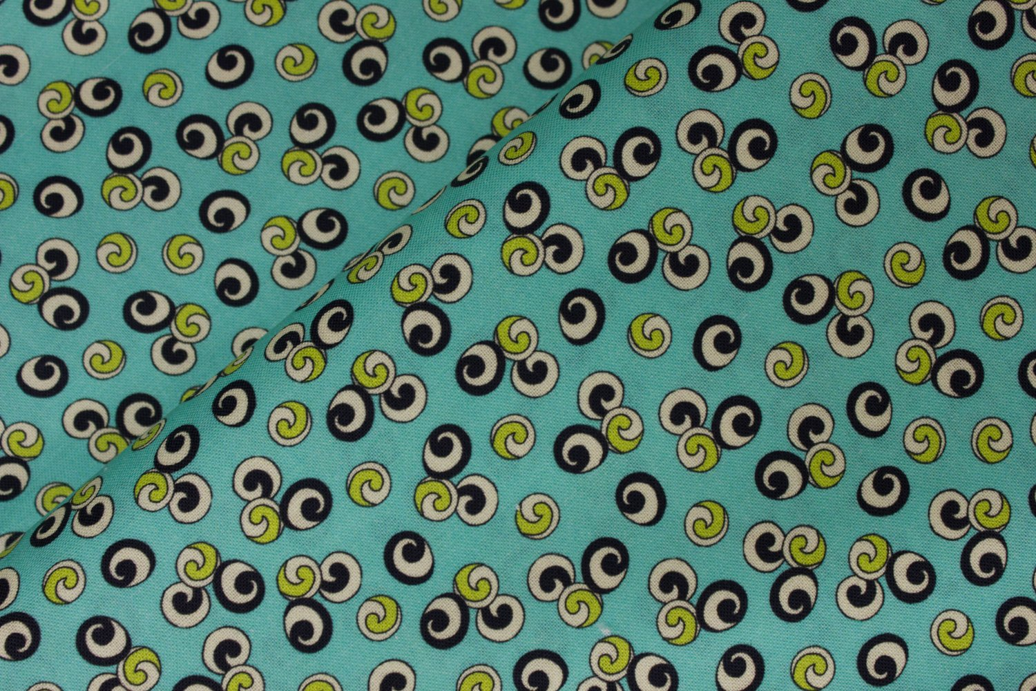 Circles with Lime, Cream, and Black Swirls on Aqua by Quilting Treasures
