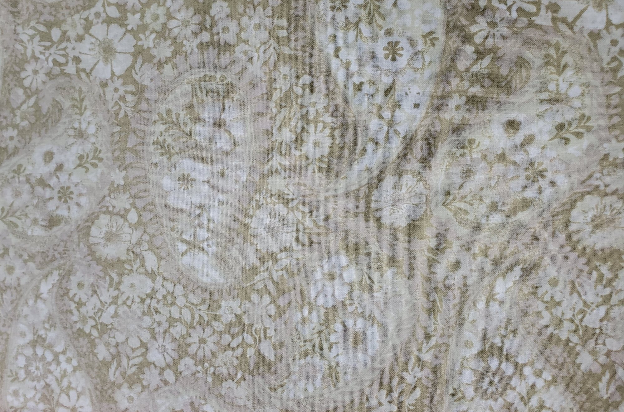 3 Yard Backing Piece: 108 Wide Tan Tonal Floral Paisley in a single 3 yard piece