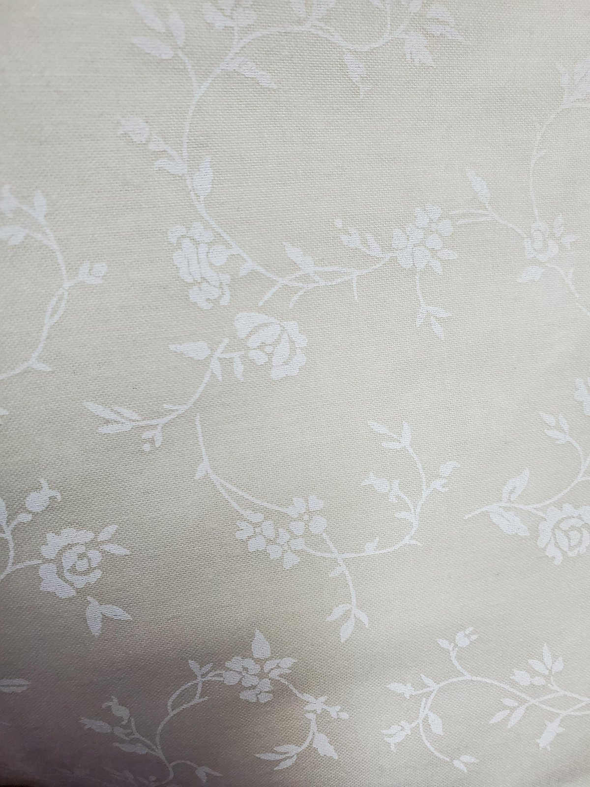 3 Yard Backing Piece: 108 Wide White Flowing Vines on Off-white in a single 3 yard piece