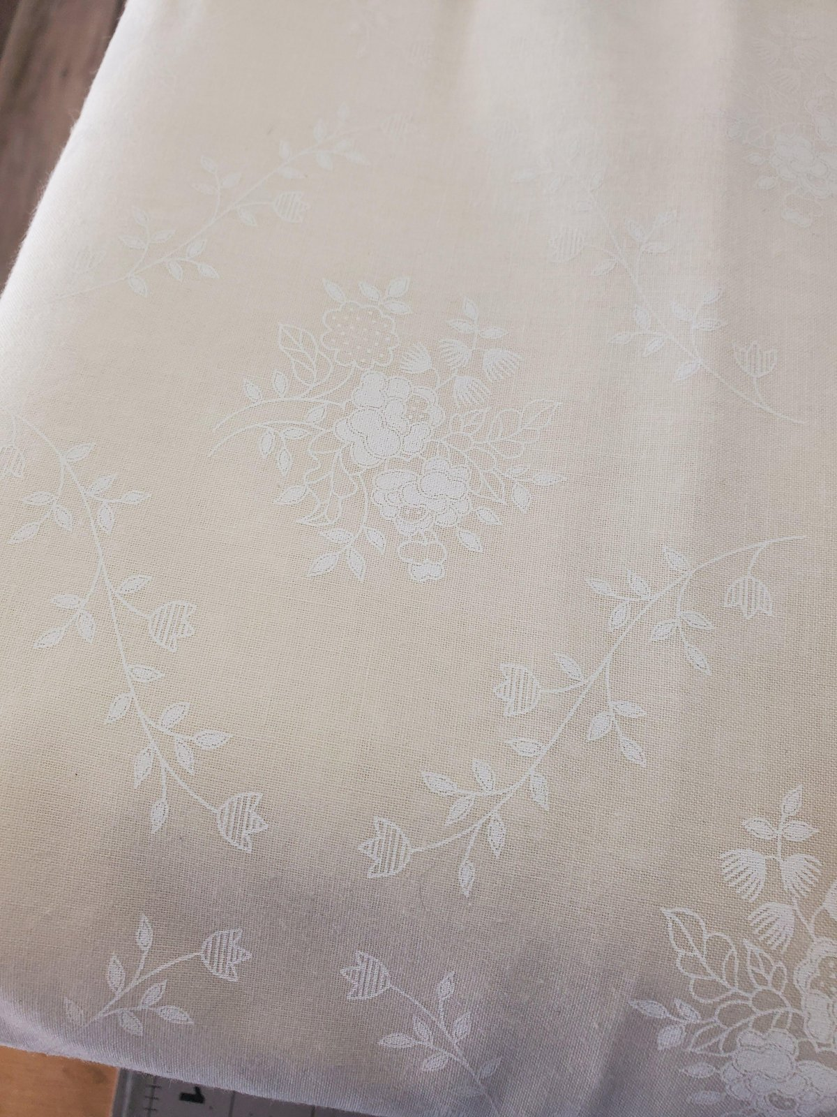 3 Yard Backing Piece: 108 Wide Vintage Bouquet White on Off-White a single 3 yard piece