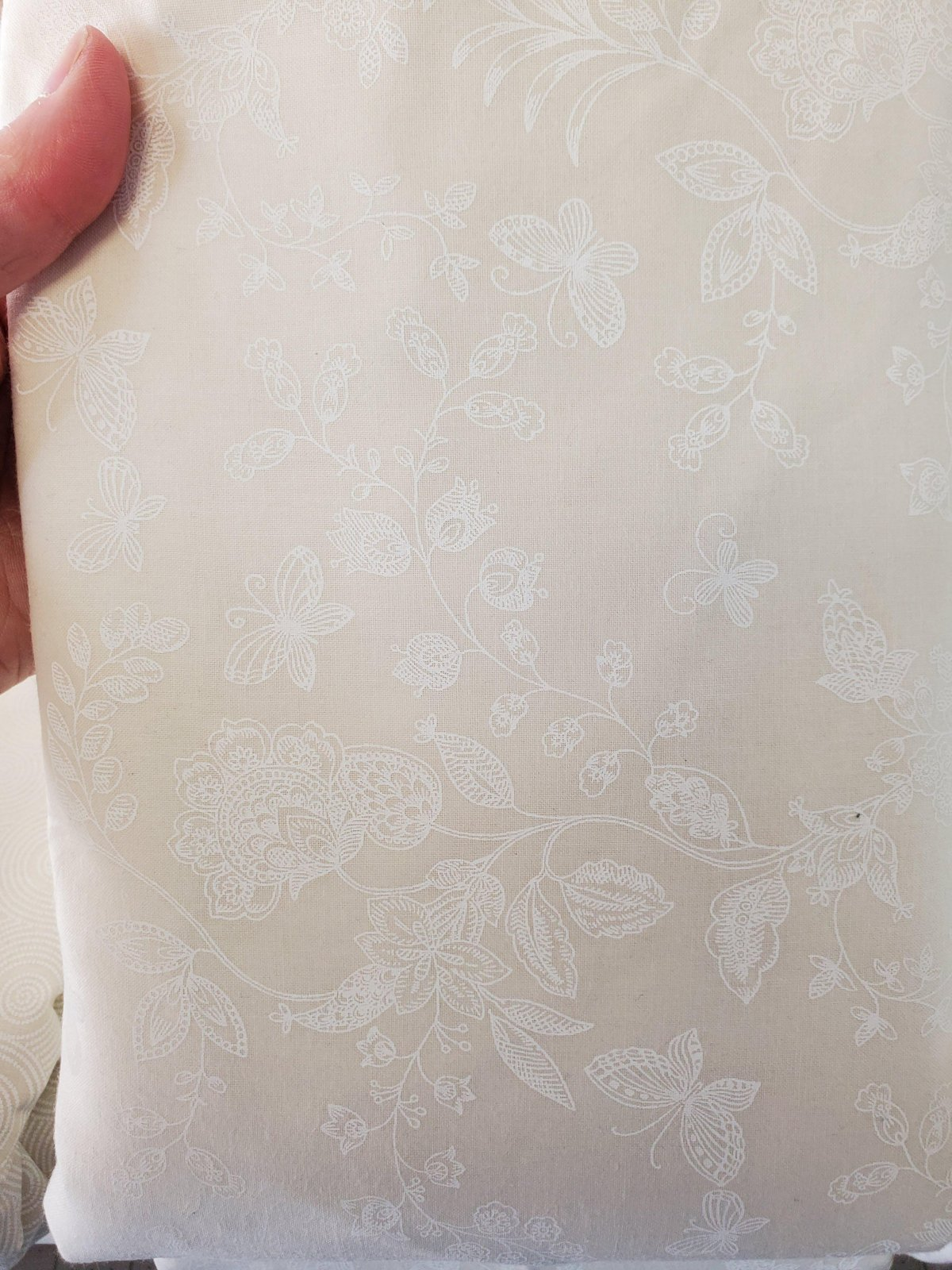 3 Yard Backing Piece: 108 Wide Vintage Butterflies White on Off-white  in a single 3 yard piece