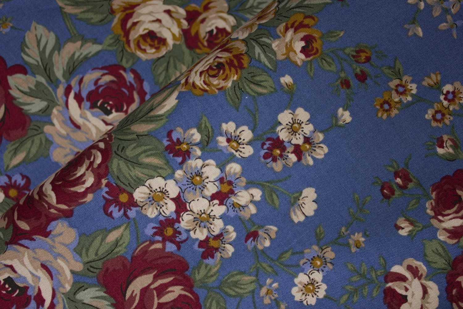 Tan and Burgundy Flowers on Blue:  Hillside by Boundless