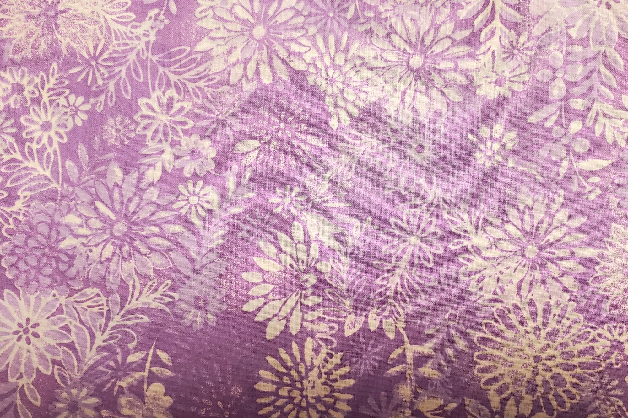 3 Yard Backing Piece: 108 Wide Purple Packed Floral in a single 3 yard piece