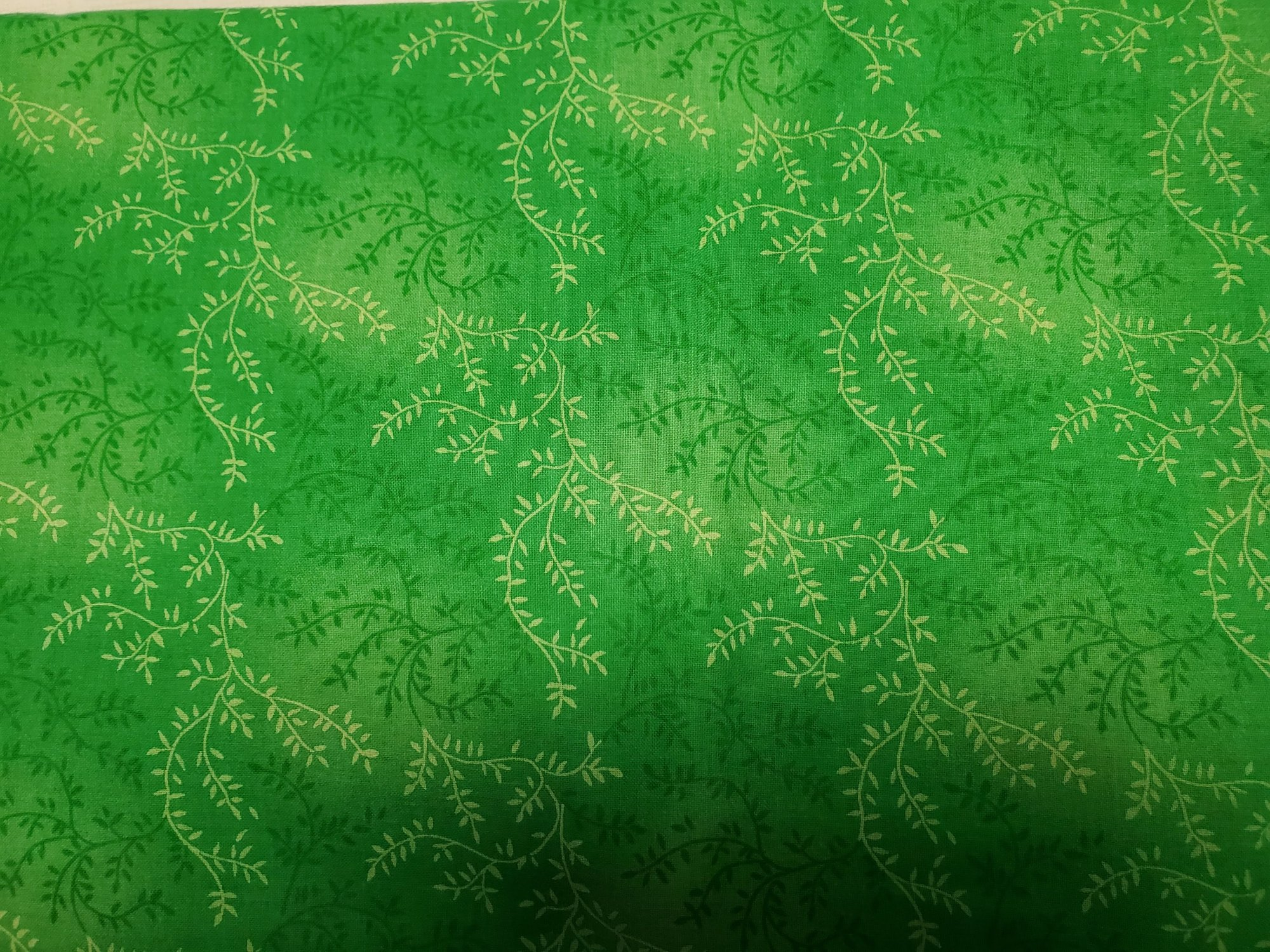 3 Yard Backing Piece: 108 Wide Kelly Green Variegated Branches in a single 3 yard piece