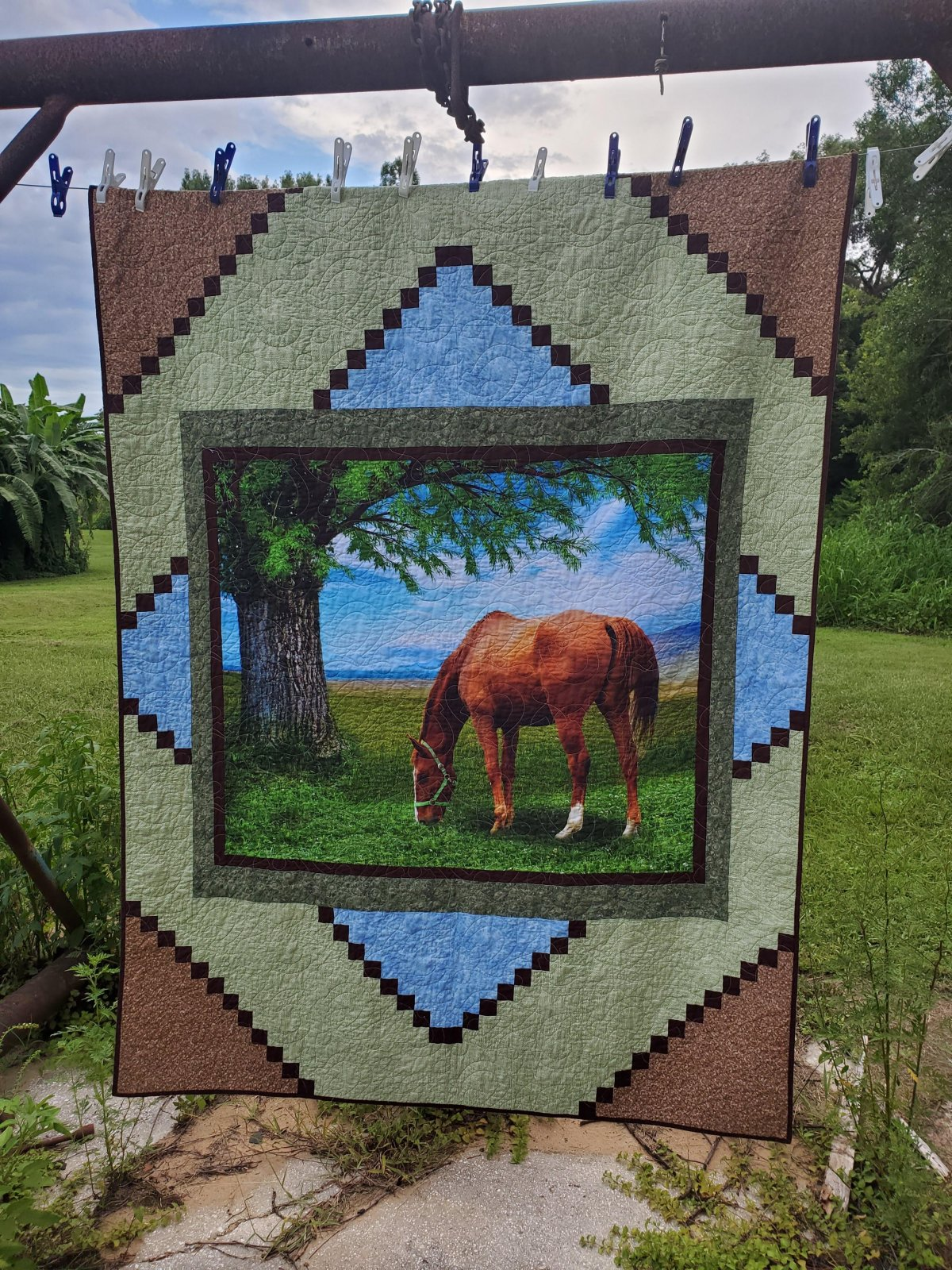 Centerpiece - Horse Grazing in Field - Lap Quilt Kit - Panel, Pattern, Fabric for Top and Binding