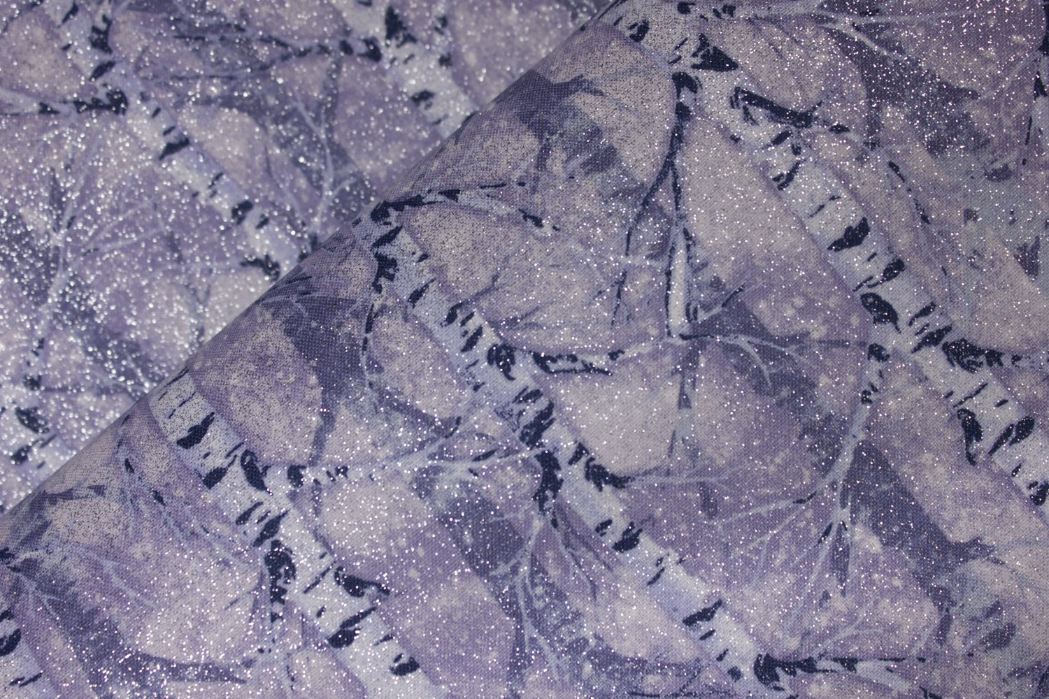 Bluish Purple and White Birch Trees in Winter with Silver Glitter