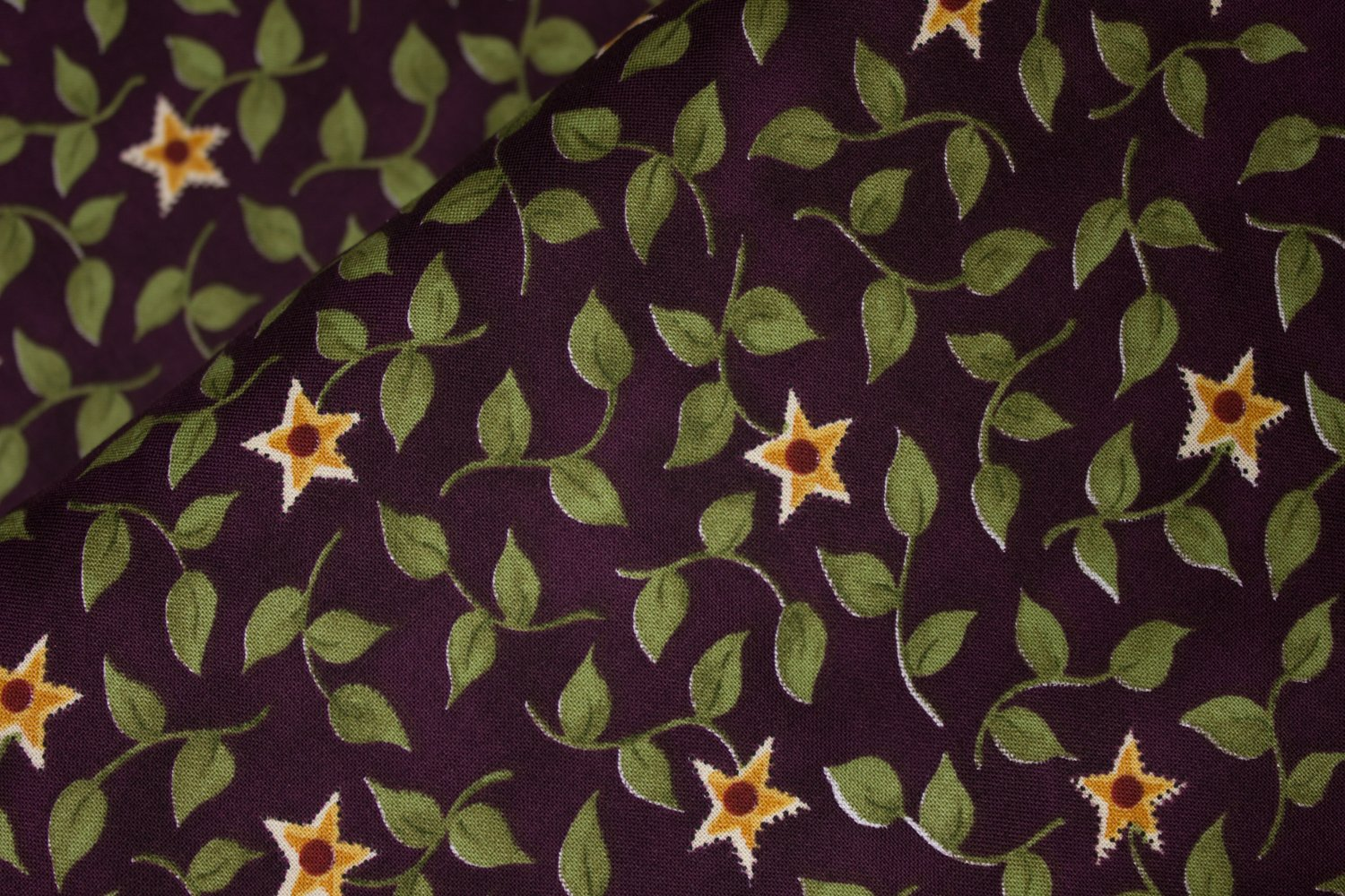 Star Flowers on Eggplant Purple:  Country Basics II by Red Rooster Fabrics