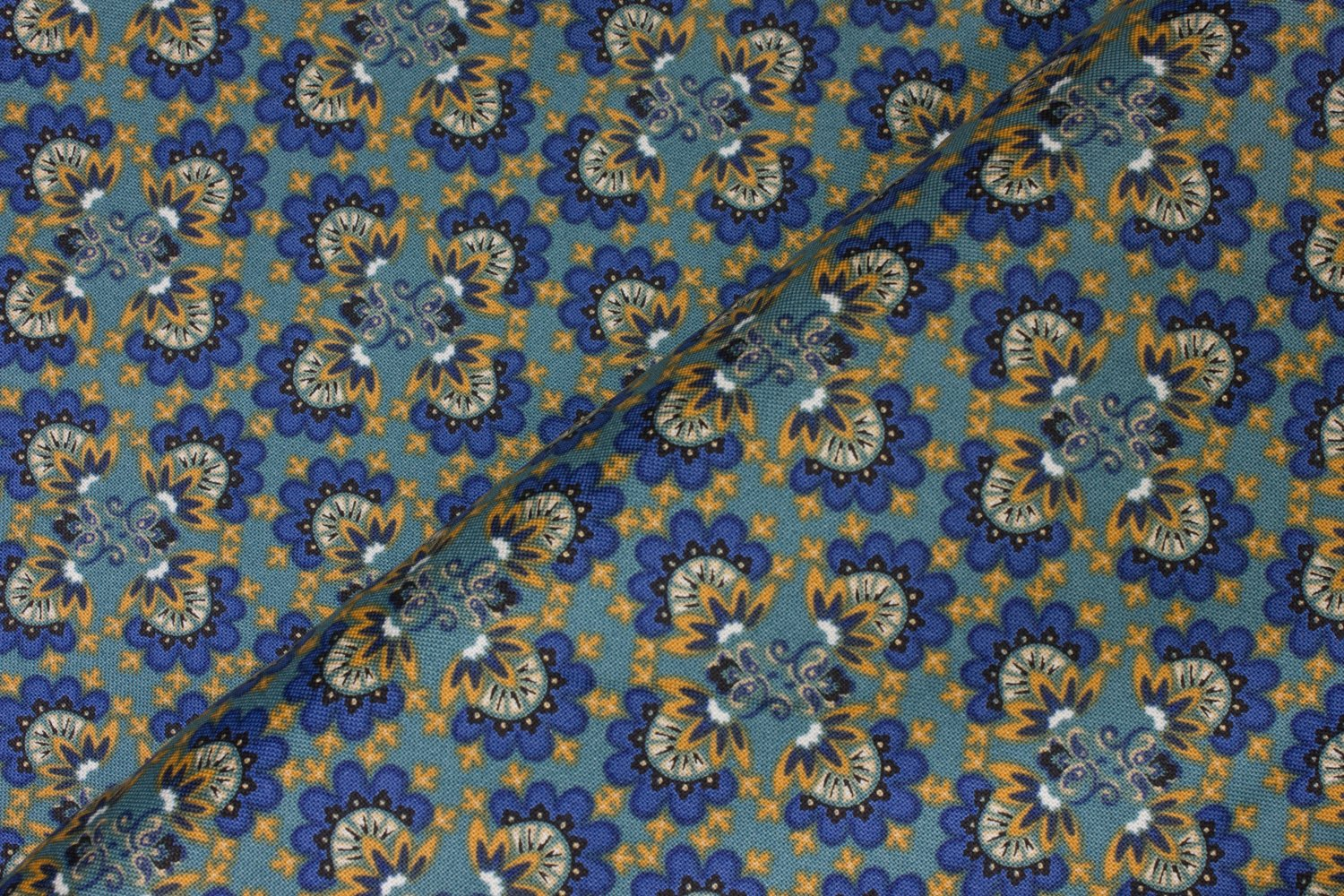Blue and Golden Yellow Floral Design on Teal:  Ingrid -  Imperial Elegance by Connecting Threads