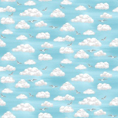 SPECIALTY FABRICS:  Seagulls flying among the clouds in the blue sky:  Clouds - Beside the Sea by Makower UK