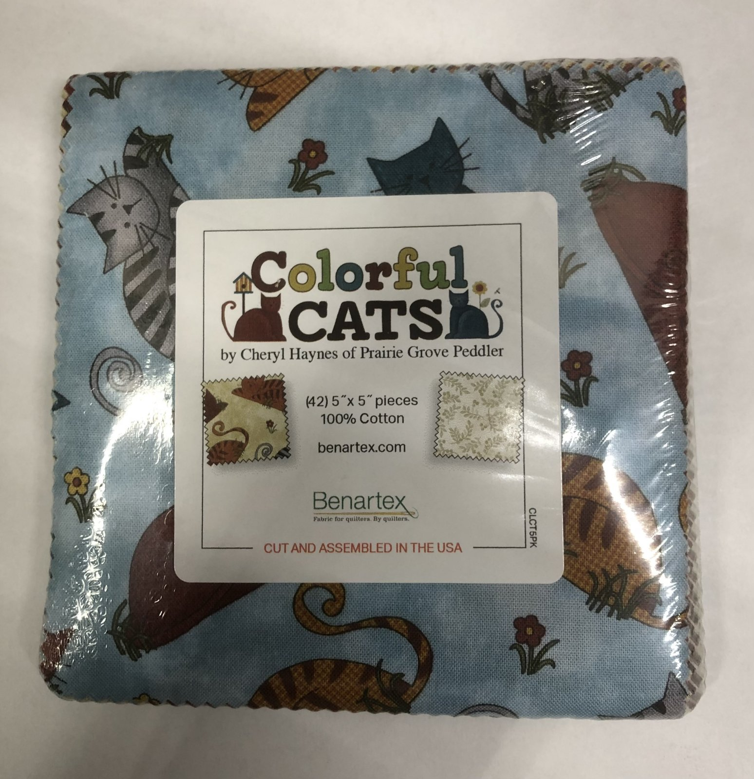 Colorful Cats:  5 x 5 Squares - 42 piece Fabric Square Pack from Benartex