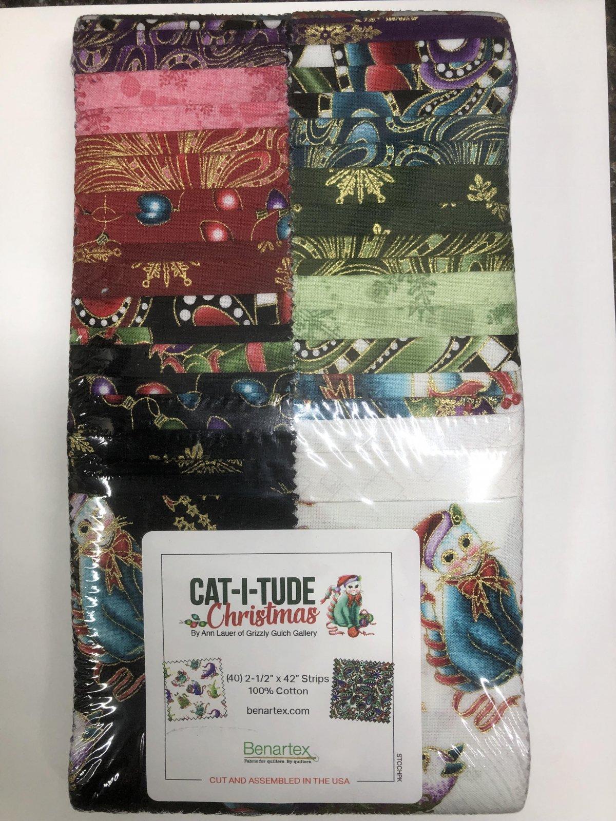 2.5 inch STRIPS:  Cat-i-tude Christmas by Benartex - 40 piece 2.5 inch Fabric Strips Flat Pack