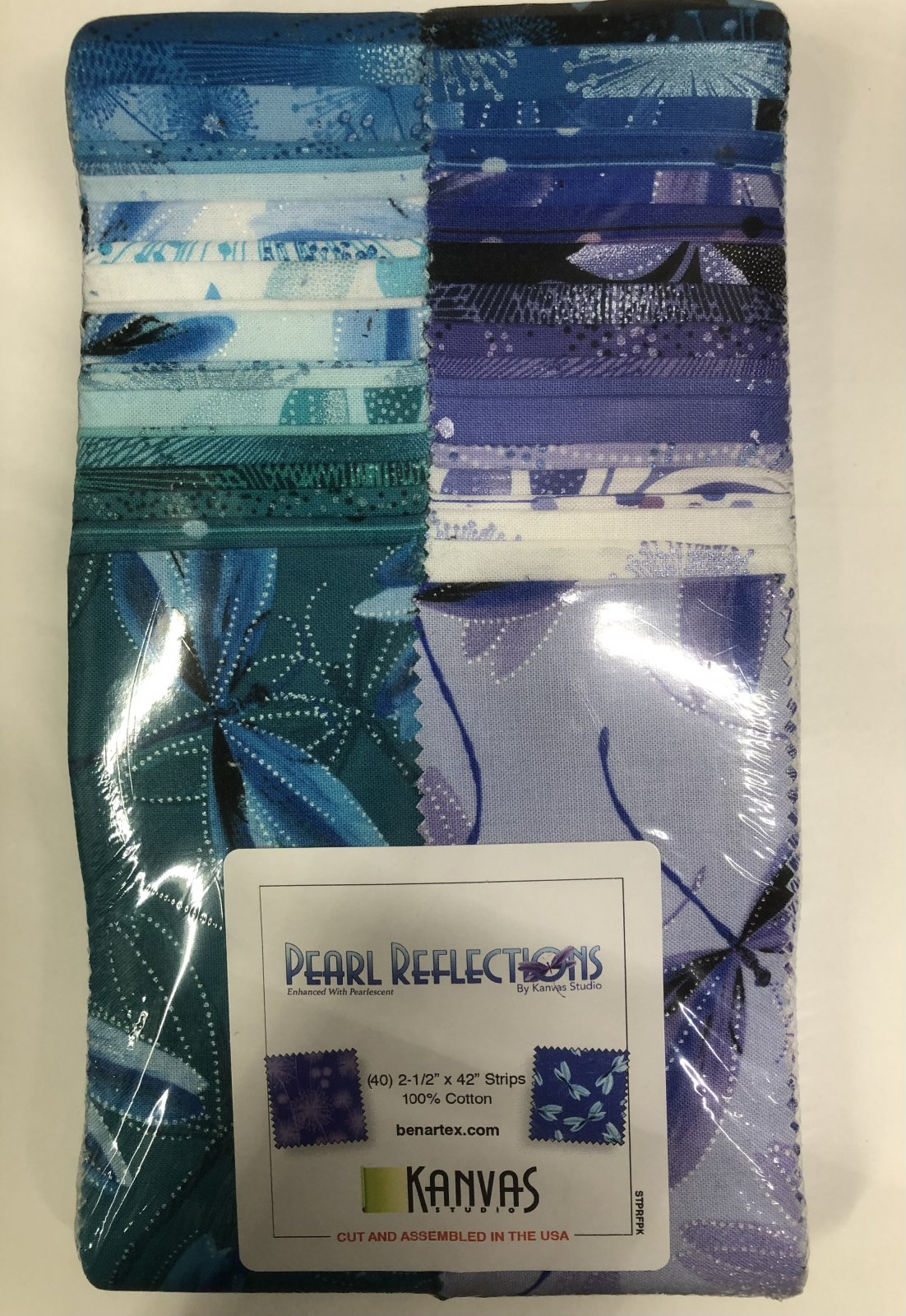 2.5 inch STRIPS:  Pearl Reflections by Benartex - 40 piece 2.5 inch Fabric Strips Flat Pack