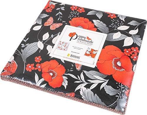 Poppy Promenade:  10 x 10 Squares - 42 piece Fabric Square Pack from Benartex