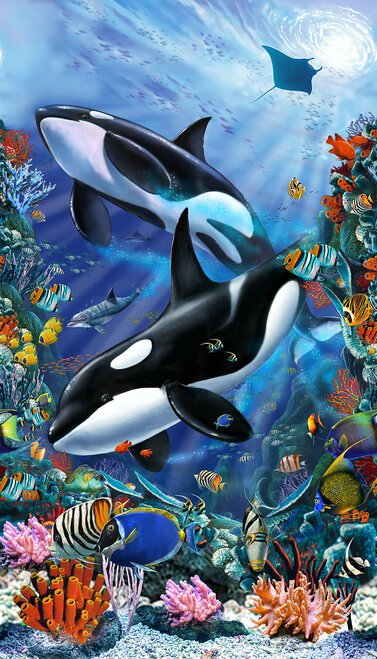 Reef Life Orcas Quilt Banner Panel by Lorenzo Tempesta for Studioe Fabrics