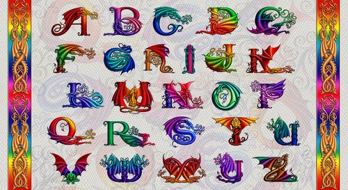 Rainbow Dragon Alphabet Panel by Sue Ellen Brown for Studioe Fabrics