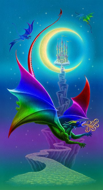 Rainbow Dragon Banner Panel  by Sue Ellen Brown for Studioe Fabrics