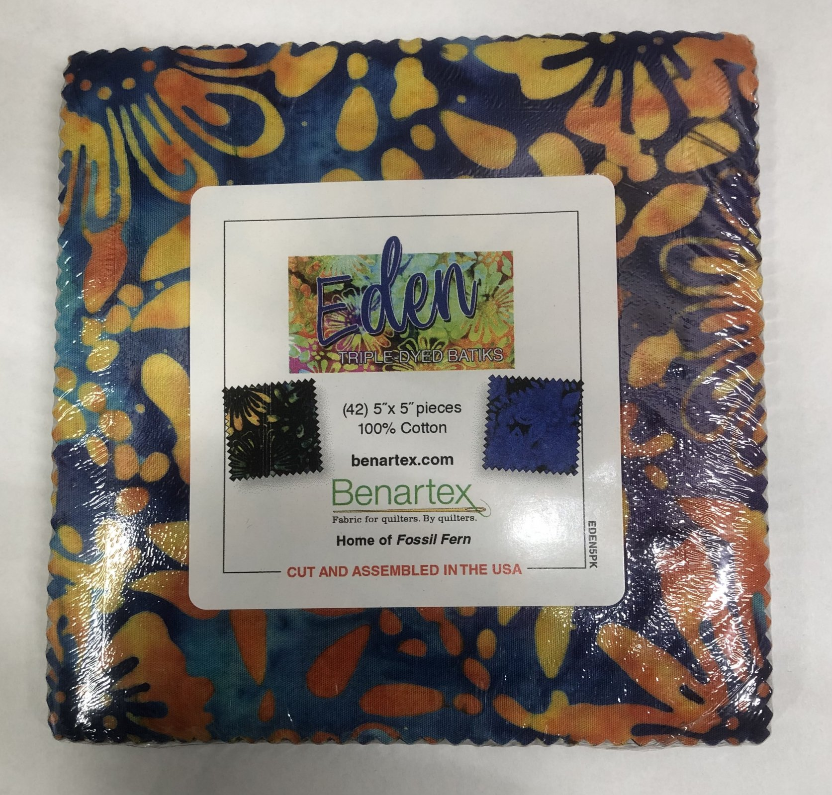 Eden:  5 x 5 Squares - 42 piece Triple-Dyed Batiks Fabric Square Pack from Benartex