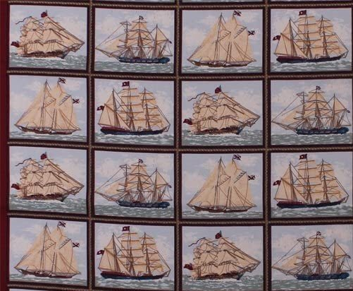 Ancient Mariners Picture Frames Small Blocks Quilt Panel by Concord Prints for MDG