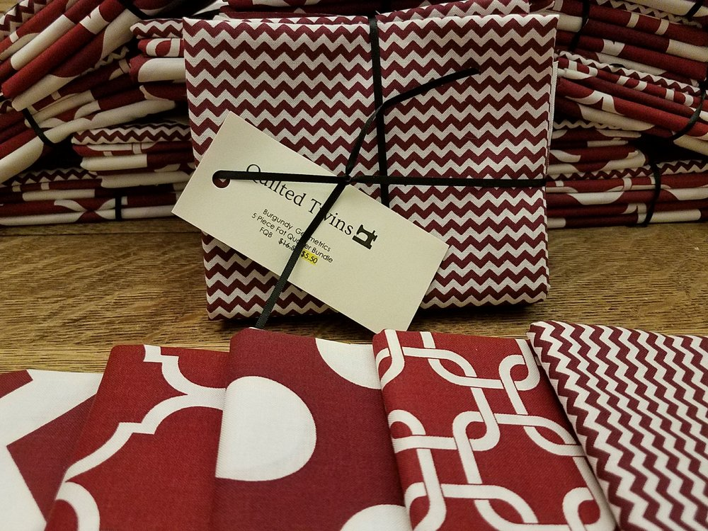 FQB #6 - Burgundy Geometrics - Rachael's Picks - 5 Pack Fat Quarter Bundle