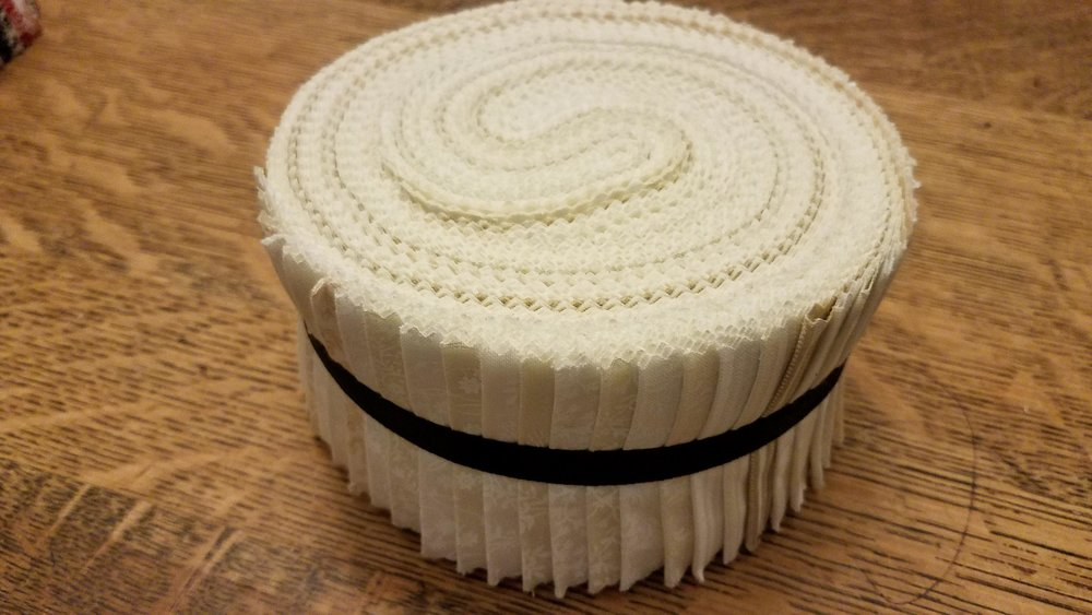 Whites/Off-Whites - 40 piece Fabric Strips Spiral Pack