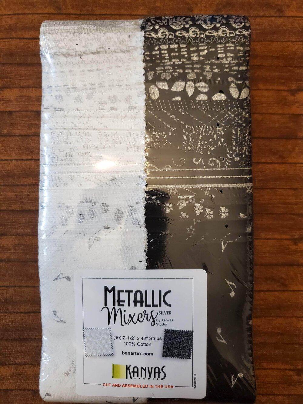 Metallic Mixers by Benartex - 2.5 Strips- 40 piece Fabric Strips Flat Pack
