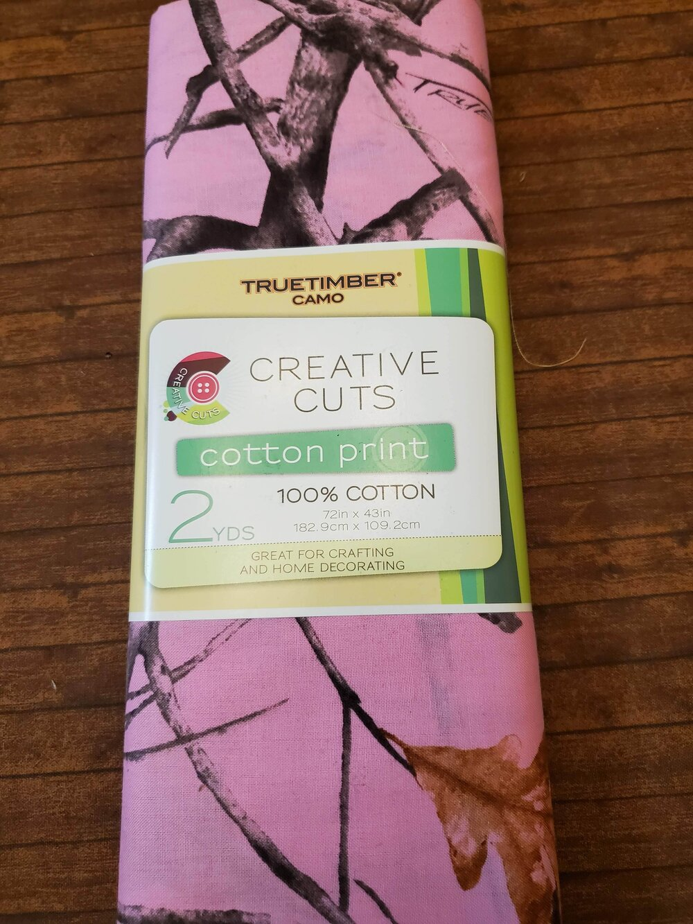 Pink Camo -ALMOST 2 yard piece in a prepackaged pack
