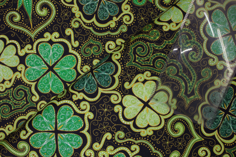 Decorative 4-Leaf Clovers, Shamrock on Black:  Lucky Clovers by Turnowsky for Quilting Treasures