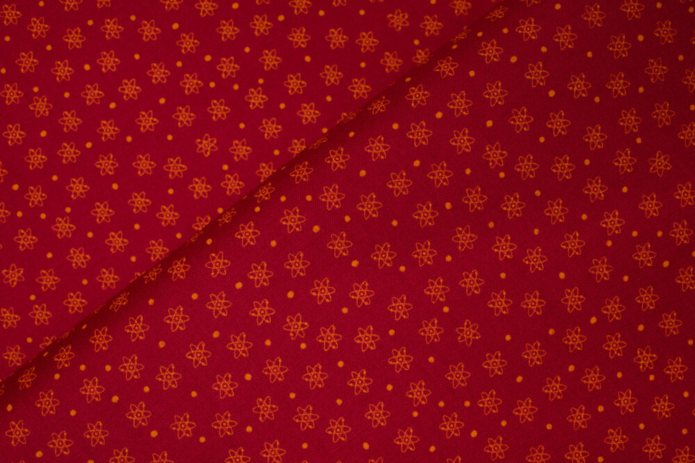 SPECIALTY FABRICS:  Red Atoms - Geekery by Sue Marsh for RJR Fabrics