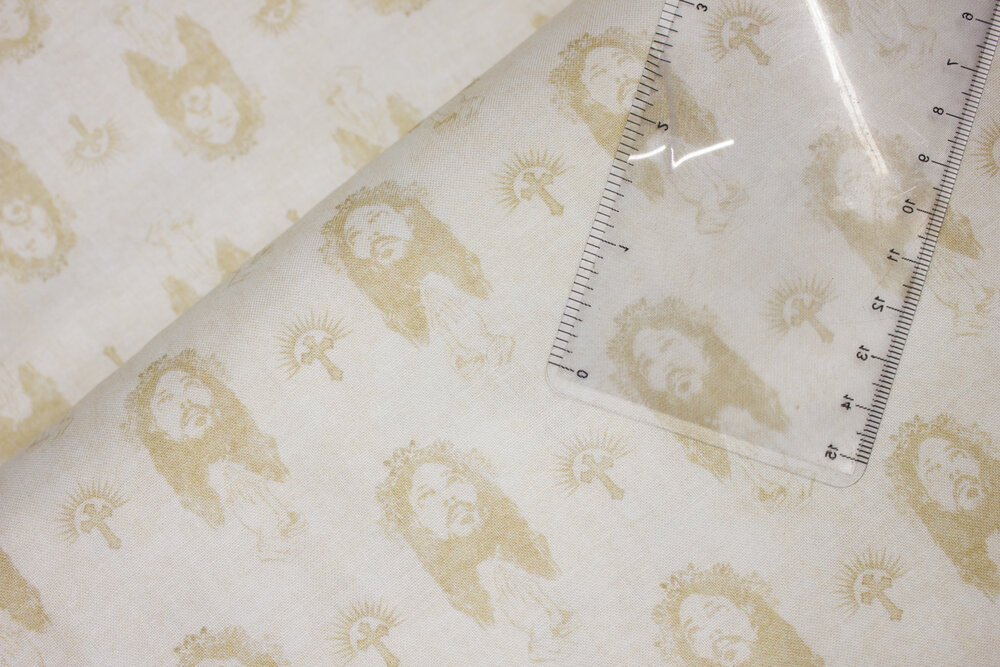 SPECIALTY FABRIC:  Jesus Allover on Cream:  Faith by Dan Morris for Quilting Treasures