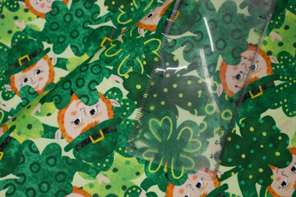 SPECIALTY FABRICS:  Leprechauns with Clovers on Light Green:  Spring Jubilee by Alyssa Kays for Blank Quilting