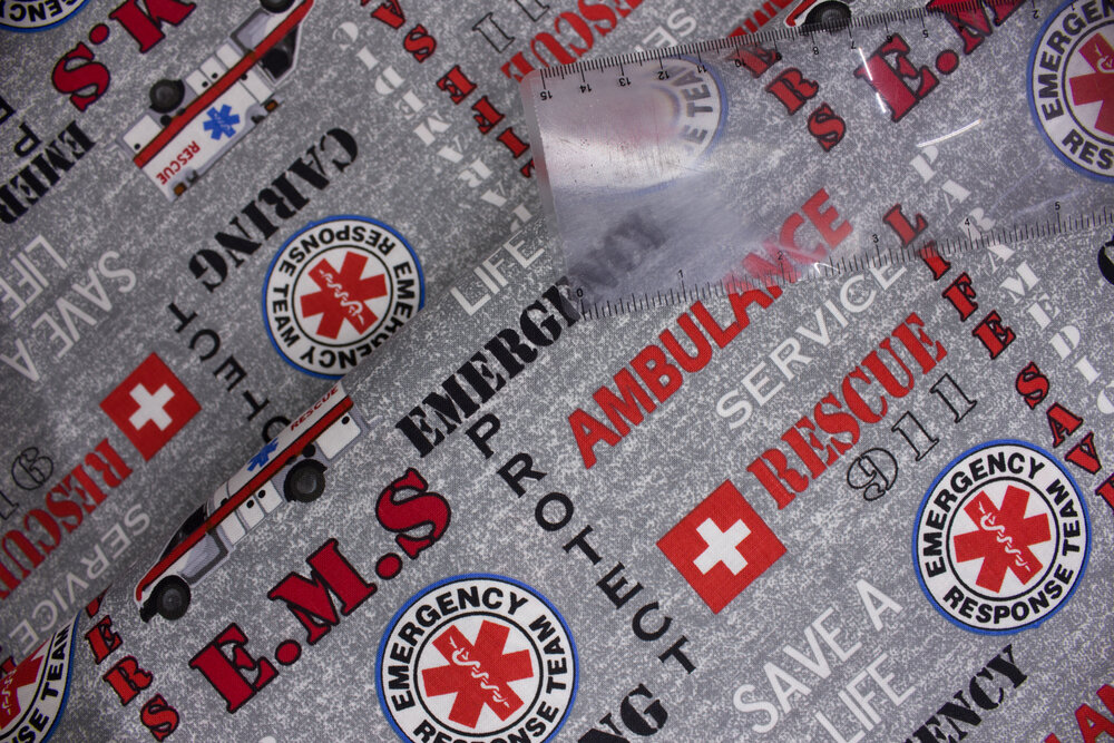 SPECIALTY FABRICS:  Emergency Medical Services --EMS-- Fabric on Gray for Sykel Enterprises